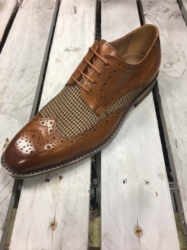 JUSTIN REECE MENS TAN / CHECK BROGUE