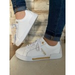 TOMMY HILFIGER WHITE GOLD LEATHER TRAINER