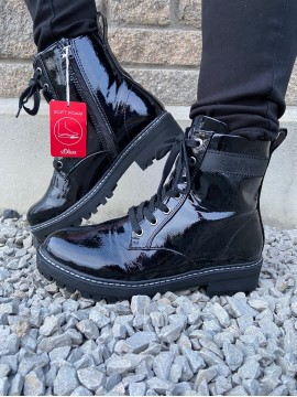 S OLIVER BLACK PATENT DM BOOT