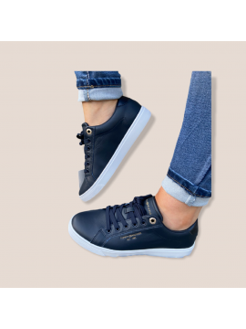 TOMMY HILFIGER NAVY LEATHER TRAINER