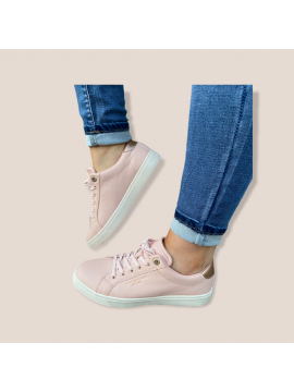 TOMMY HILFIGER DUSTY PINK LEATHER TRAINER