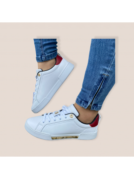 TOMMY HILFIGER WHITE LEATHER COMFORT TRAINER