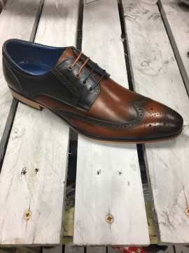 JUSTIN REECE MENS TAN / NAVY BROGUE